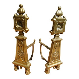 1920s Vintage French Chinoiserie Style Andirons - a Pair