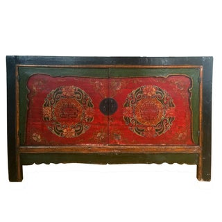 Antique Chinese Painted Red & Black Cabinet