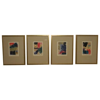 Set of Four Woodblock Prints