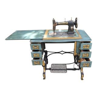 Vintage White Brand Sewing Machine With Wrought Iron Legs