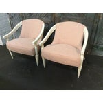 Image of Orange and Ivory CustomUpholstered Chairs - A Pair