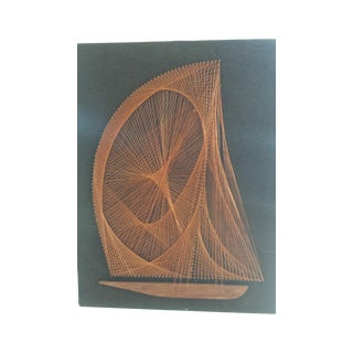 Nautical Copper String Art of a Ship