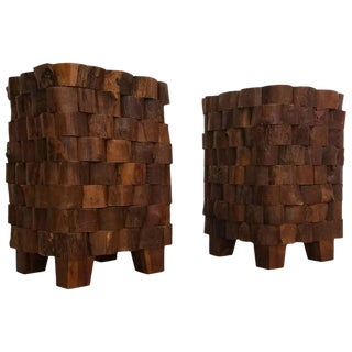 Primitive Brutalist Style Stacked/Cut Wood End Tables- A Pair