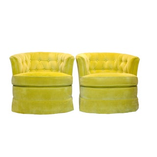 Yellow Velvet Swivel Chairs - A Pair