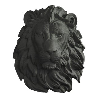 Black Faux Lion Wall Bust