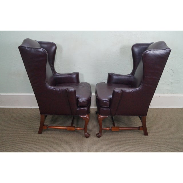 Oxblood Leather Wing Chairs - A Pair - Image 3 of 10