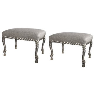 Stylish Pair of American Dorothy Draper Style Silver Twisted Gilt Rope Stools