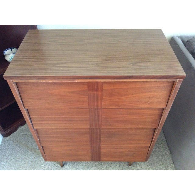 Mid-Century Modern Louvered Highboy Dresser - Image 6 of 10
