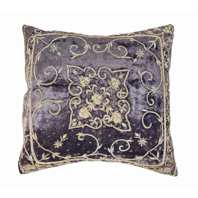 Embroidered Purple Velvet Pillow - Image 3 of 5