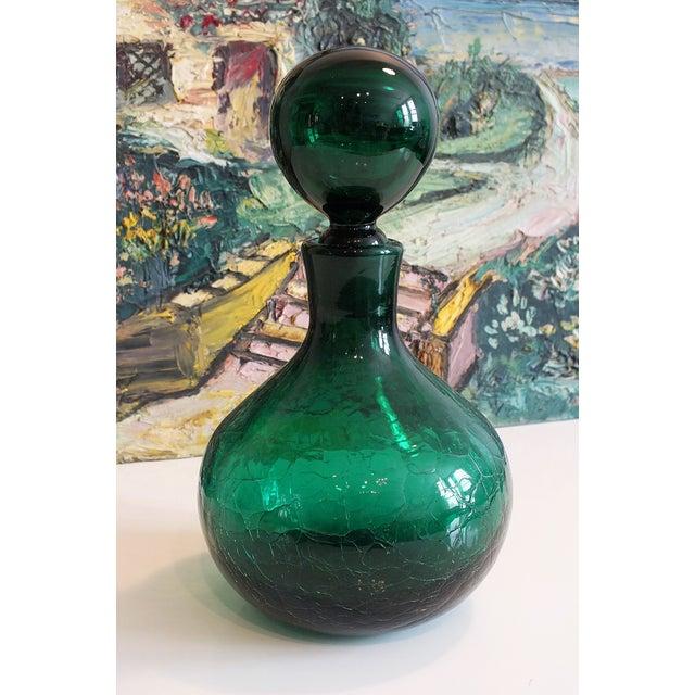 Vintage Blenko Emerald Green Crackle Glass Bottle - Image 7 of 7