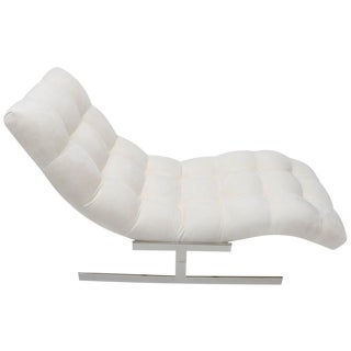 The Wave Chaise Lounge in Polished Chrome and White Ultra Suede Upholstery