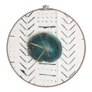 Boho Mudcloth Textile Green Agate Wall Clock