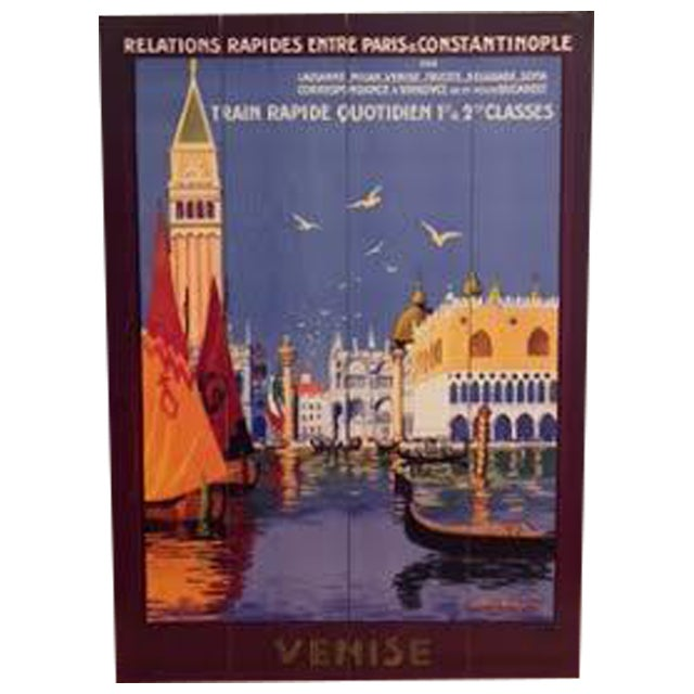 Vintage Print of Venice on Wood - Image 1 of 4
