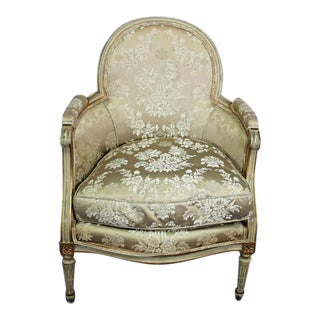 Antique Louis XVI Style Gilt Silk Bergere Chair
