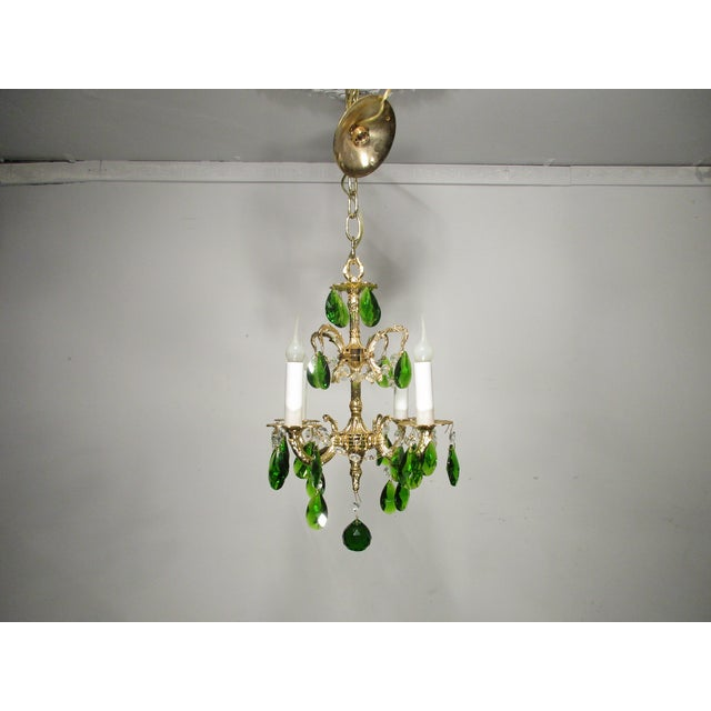 Image of Vintage Brass & Green Crystals Chandelier