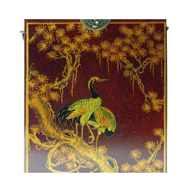 Chinese Red Leather Crane & Pine Motif Gift Box Set - 3 Pieces - Image 4 of 6