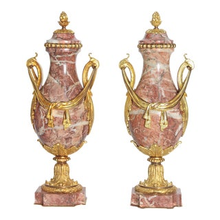 Pair of 19th Century Louis XVI Style Marble and Ormolu Mounted Cassolettes