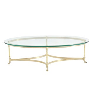 Brass Hoof Feet Oval Coffee Table