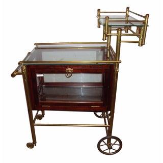 Mid-Century Modern Bass & Mahogany Bar Serving Cart