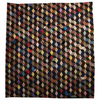 Antique Tumbling Blocks Silk Quilt
