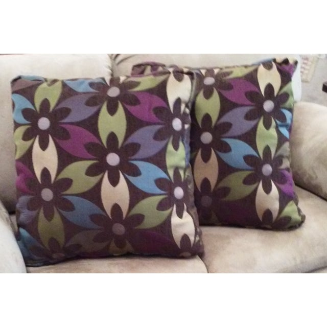 Purple Floral Boho Chic Pillows - Pair - Image 2 of 4