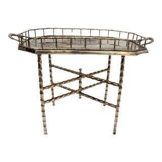 Hollywood Regency Brass Faux Bamboo Folding Tray Table