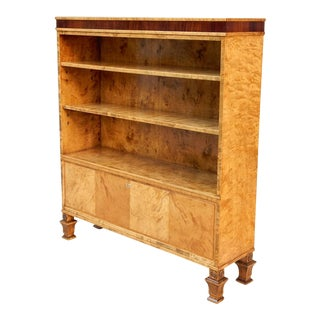 Swedish Art Deco Bookcase in Golden Flame Birch and Rosewood-Carl Malmsten for SMF