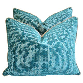 Designer Turquoise Greek Key Velvet Pillows - Pair