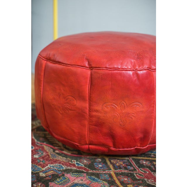 Antique Revival Cranberry Red Leather Pouf Ottoman - Image 6 of 8