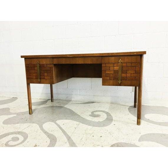 Mid-Century Modern Walnut Four Drawer Desk - Image 2 of 6