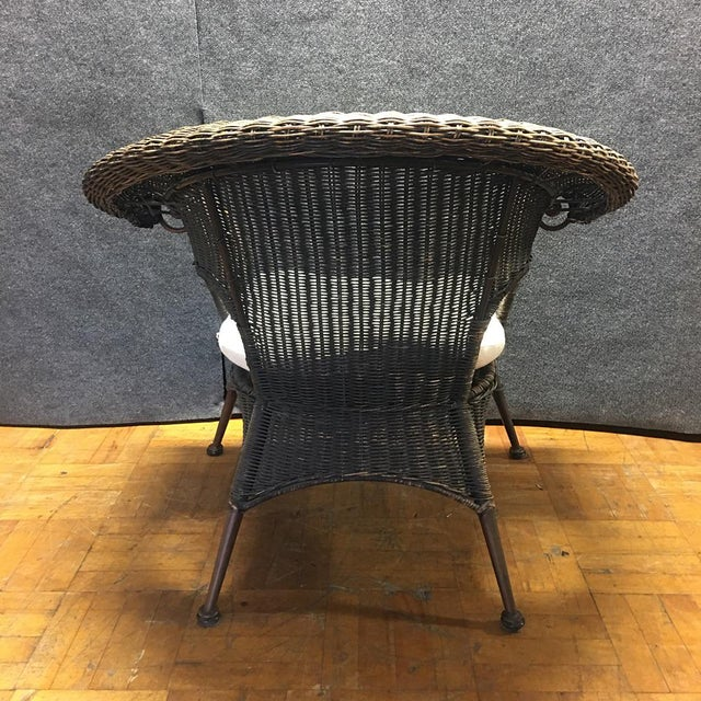 Wood & Iron Outdoor Armchairs W/ Seat Cushions - A Pair - Image 7 of 10