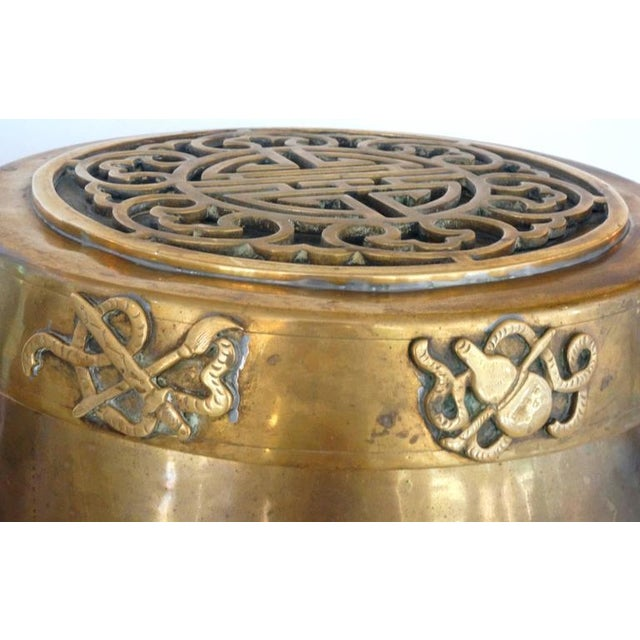 Image of Hollywood-Regency, Brass Garden Stool / Side Table, Asian Motif with a Removable Lid