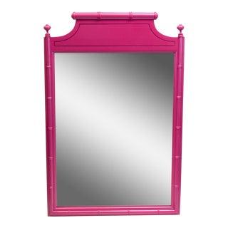Mid-Century Faux Bamboo Mirror Magenta Mirror