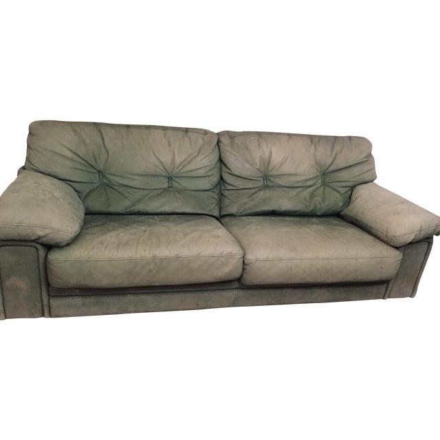 Roche Bobois Green Leather Sofa - Image 1 of 7