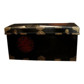 Japanese Imperial Black Lacquer Dowry Trunk (Nagamochi)