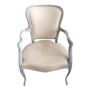 Louis XV Style Blue Gray Painted Accent Chair With Distressed Finish