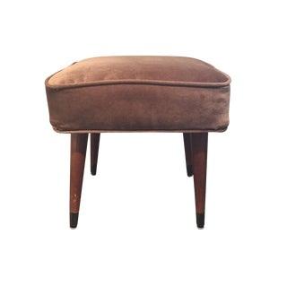 Mid-Century Brown Ottoman/Footstool