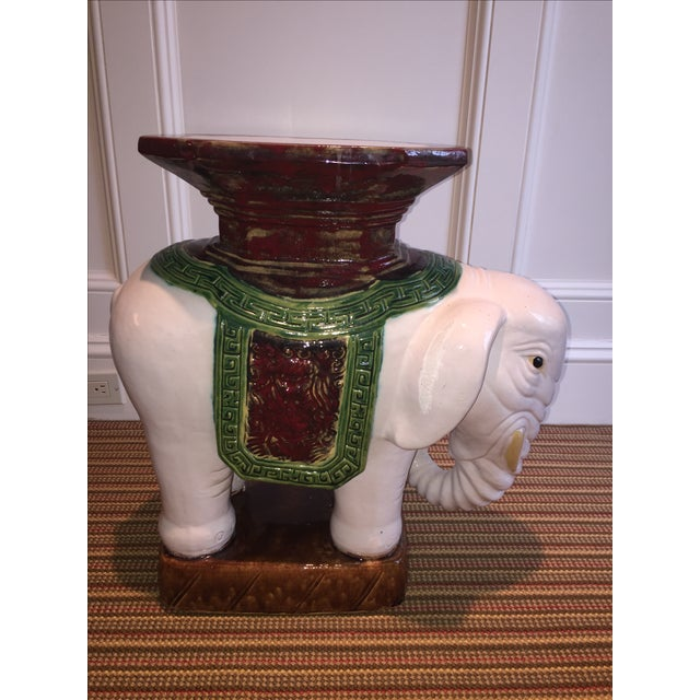 Green and Brown Elephant Garden Stool - Image 7 of 10
