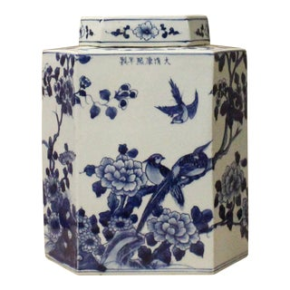 Chinese Blue & White Porcelain Oriental Scenery Hexagon Jar Container