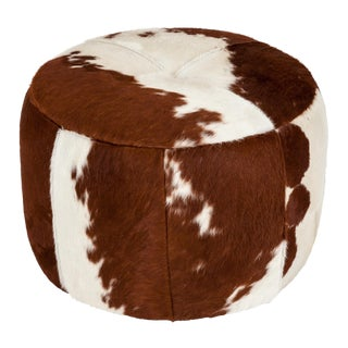 Elite Leather Hair on Hide Round Ottoman (A)