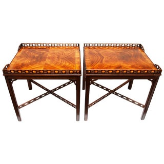 Vintage Drexel Heritage Chinese Chippendale Style Mahogany End Tables - A Pair