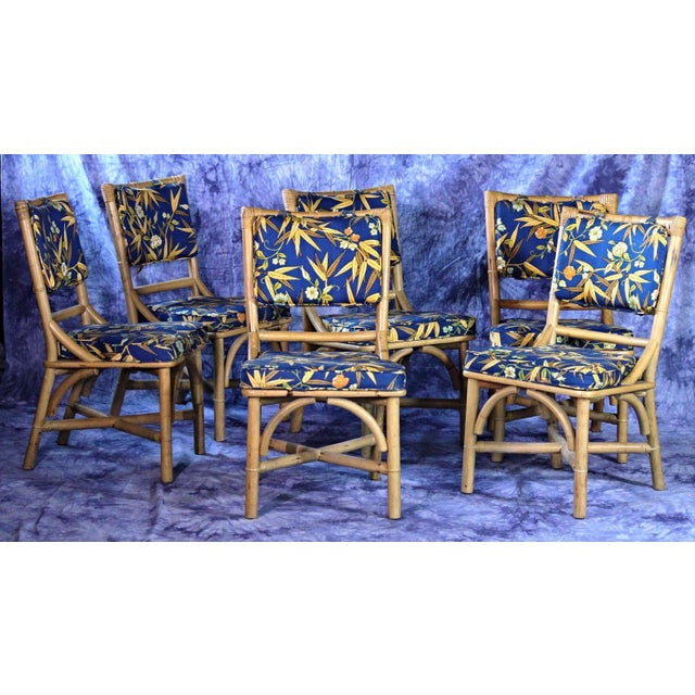 Mid century modern rattan dining side chairs set of 6 for Modern rattan dining chairs