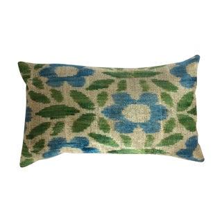 Green & Blue Silk & Velvet Turkish Ikat Pillow