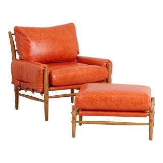 Anthropologie Rhys Lounge Leather Chair & Ottoman