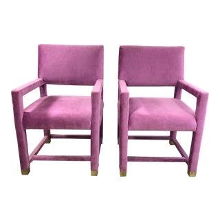 Vintage Magenta Velvet Parson Armchairs - A Pair