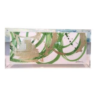 Lucite Framed Green & Gold Circles