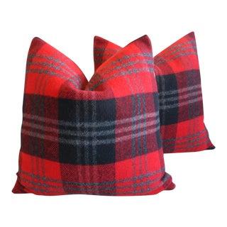 Scottish Tartan Plaid Wool Pillows - Pair