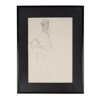 1940s Fashion Illustration, Pencil on Paper