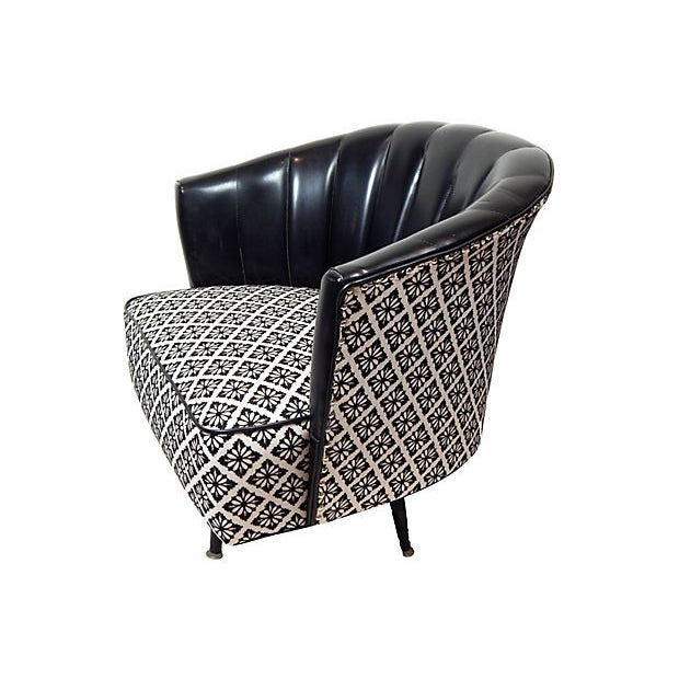 Black & White Swivel Club Chair - Image 2 of 3