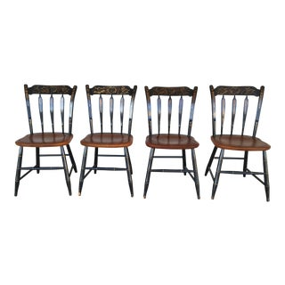 L. Hitchcock Black Harvest Arrow Back Side Chairs - Set of 4